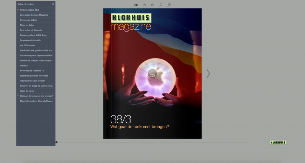Klokhuis Magazine bladerbare versie scherm1